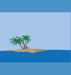 Palm tree on sand island vector