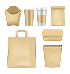 Realistic fast food package set vector