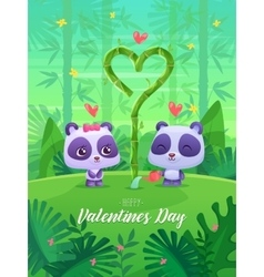 Romantic couple panda cute vector