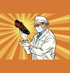 scientist chemist explores shoes vector image