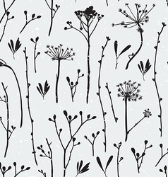 Seamless pattern with silhouettes of flowers and vector