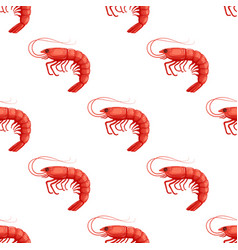 seamless pattrn with flat red shrimp on white vector image