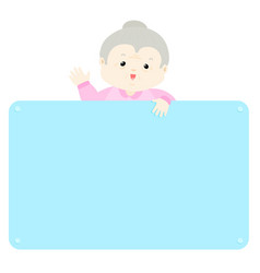 senior woman hold empty board vector image vector image
