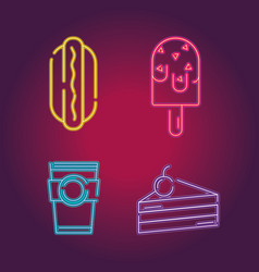 set business commercial neon icons decoration vector image