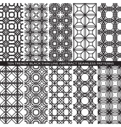 Set of Trendy Vintage Black Thin Line Seamless vector image vector image