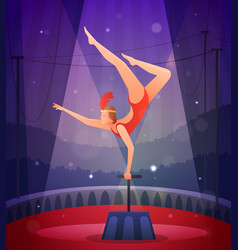 Slender girl performing acrobatic exercise vector