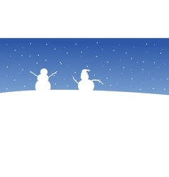 Snowman on the hill at night christmas scenery vector
