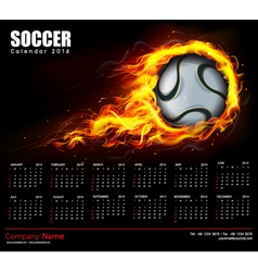 Soccer Fire Calendar 2014 vector image