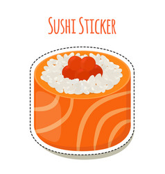 sushi stickerasian food with caviarrice - label vector image vector image