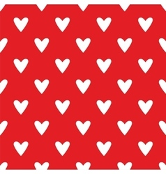 Tile pattern with white hearts on red background vector image vector image