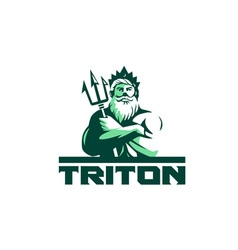 Triton arms crossed trident front retro vector