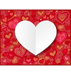 Valentines day white paper on hand drawing heart vector image