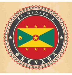 Vintage label cards of grenada flag vector