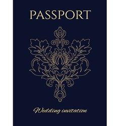 Wedding invitation passport vector