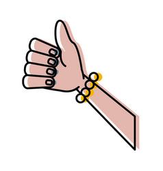 woman hand thumb up vector image