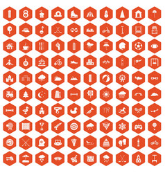 100 kids games icons hexagon orange vector