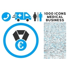 Euro champion medal icon with 1000 medical vector
