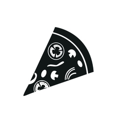 Pizza simple black icon on white background vector