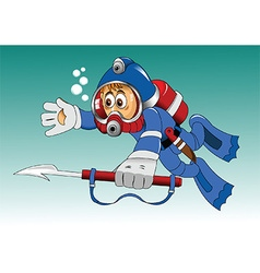 Cartoon diver vector image