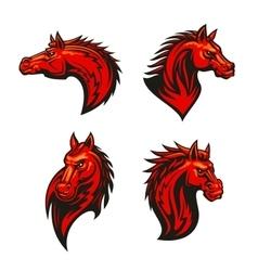 Angry flaming horse mascot set vector image