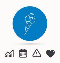 ice cream with three balls icon sweet dessert vector image