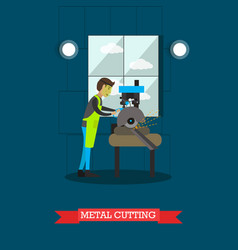 metal cutting in flat style vector image