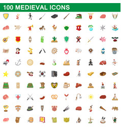 100 medieval icons set cartoon style vector