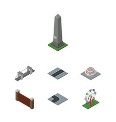 Isometric urban set of barrier path recreation vector