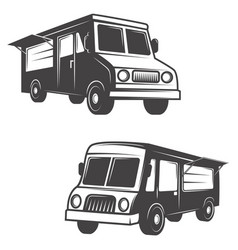 Set of food trucks isolated on white background vector