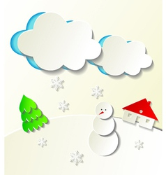 Paper cut out winter concept vector image