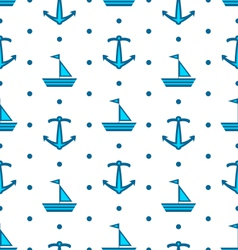 Seamless pattern with sail boats and anchors vector