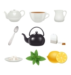 Tea set icons collection vector