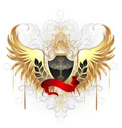 Black shield gold cross vector