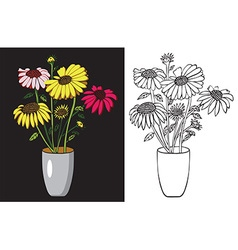 Sunflowers in a vase vector