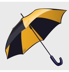 Classic black and yellow open umbrella vector