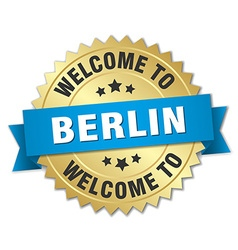 Berlin 3d gold badge with blue ribbon vector