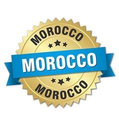Morocco round golden badge with blue ribbon vector