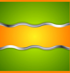 Abstract bright background with metallic waves vector