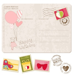 baby girl arrival postcard with set of stamps vector image vector image