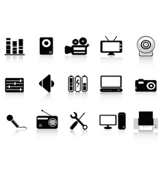 black audio video and photo icons vector image