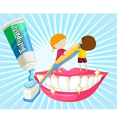Boy and girl brushing teeth vector image