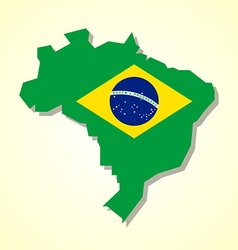 Brazil map and brazilian flag vector image