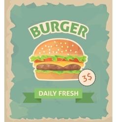 Burger retro poster vector image vector image