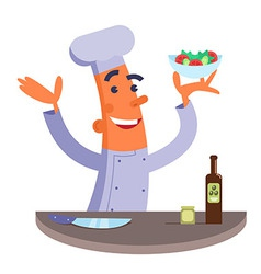 Cartoon chef holding plate with salad vector image vector image