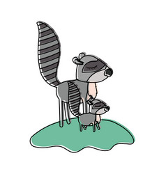 cartoon raccoon mom and cub over grass in vector image vector image