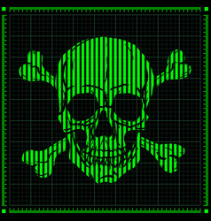 digital skull on dark background vector image