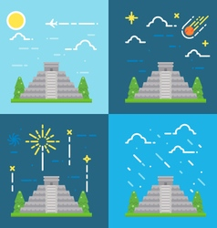 Flat design 4 styles of chichen itza yucatan mexic vector