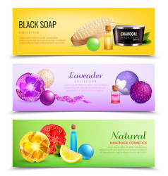 Fragrant soap banners collection vector