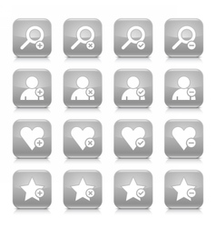 Gray additional sign square icon web button vector