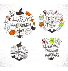 Halloween flat monograms color vector image vector image